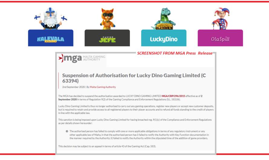LUCKY DINO Malta license SUSPENDED